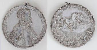"""""""Felipe II / El dios Apolo-Helios en su carro"""" Jacopo Nizzola da Trezzo, 1555"""
