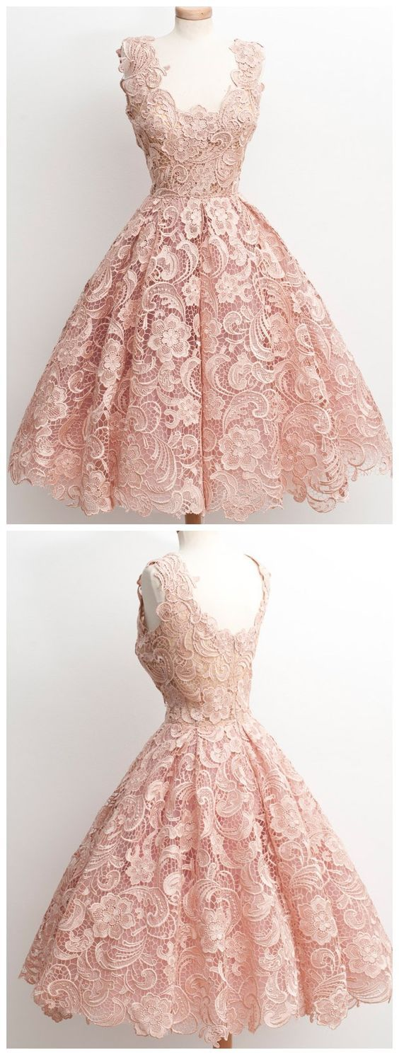 vintage style homecoming dress, short pink homecoming dress, lace homecoming dress, 2016 homecoming dress