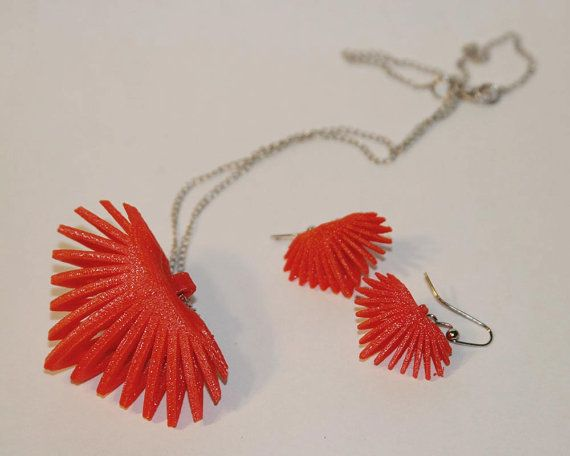 3D Printed Heart Slice Necklace & Earrings by TheCoconutRobot