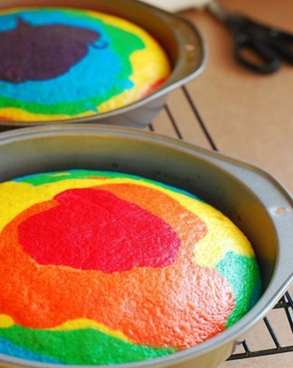 Cake Art Food Casting Gel : Tie-Dye Cake!!! 1 box of white cake mix, 1 box of classic ...