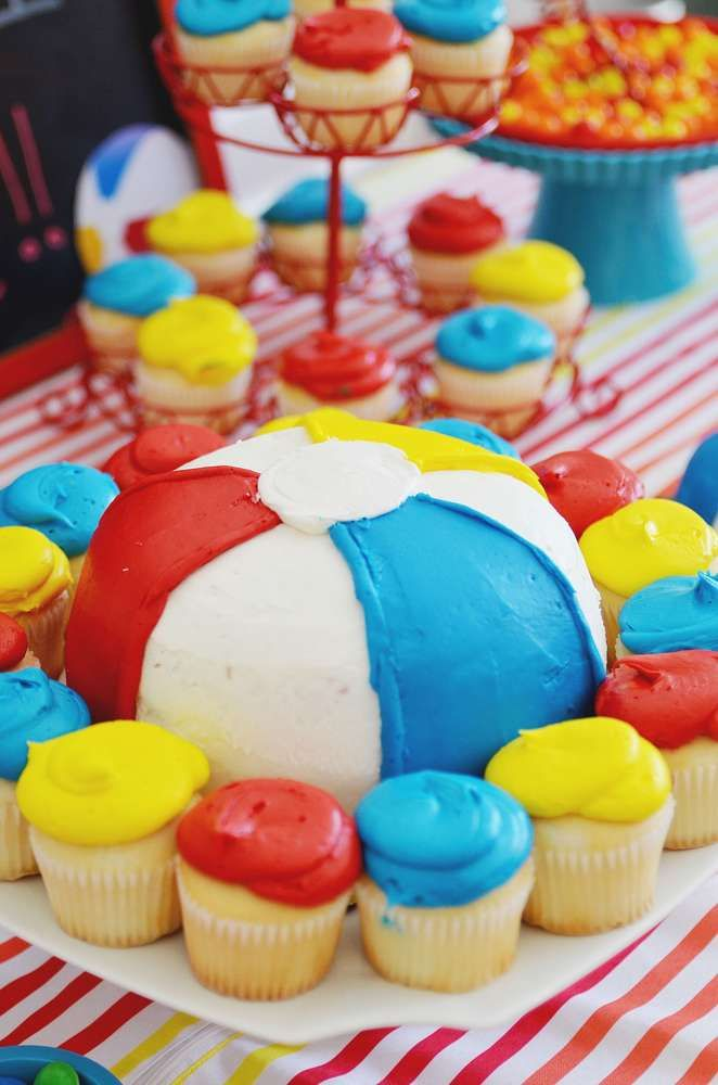 Beach ball birthday party!  See more party planning ideas at CatchMyParty.com!