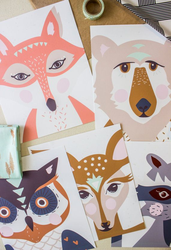 Set of five 8x10 'hello bear' art prints by SweetBonnieChristine