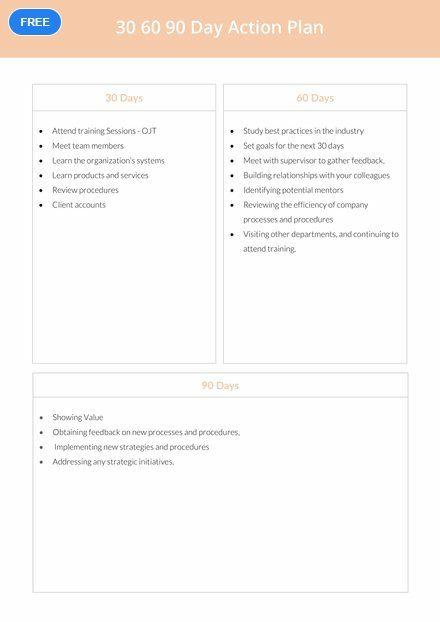 Free 30 60 90 Day Action Plan Plan Templates Designs 2019