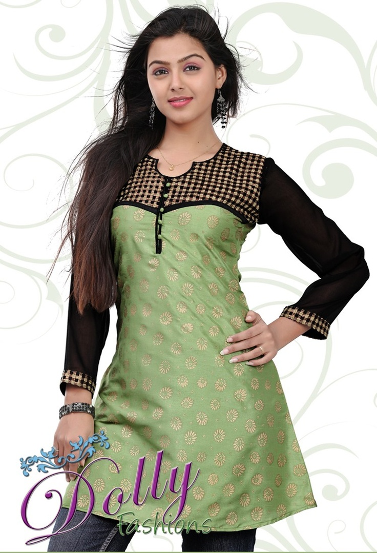 Light Green & Black Baltic Printed Patch Work Cotton Kurti/ Indian Tunic Top