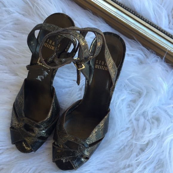 Stuart Weitzman crackled metallic strappy heel Hott edgy pair of crackled metallic heels by Stuart Weitzman! Some wear on color but honestly looks like they were meant to be that way because of the style! Stuart Weitzman Shoes Heels