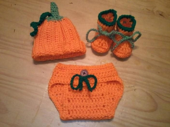 Crochet Hair For Sale Near Me : DAY SALE Baby Halloween Pumpkin Hat, Diaper Cover, Booties Crochet ...