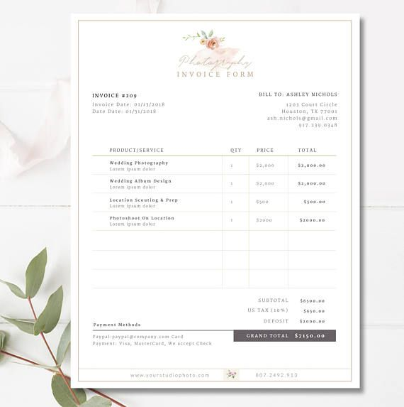 Invoice Template Invoice Design Receipt Photography Invoice