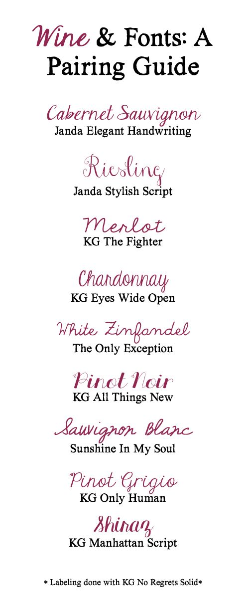 Wine & Fonts: A Pairing Guide ~~ {10 Free fonts w/ links}