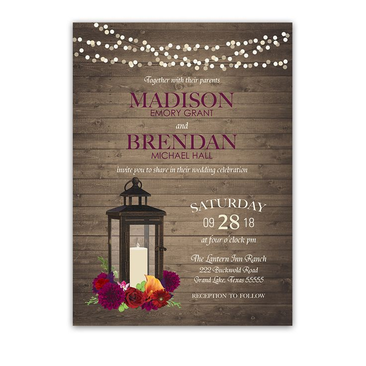 Lantern Wedding Invitations Rustic Fall Plum Florals. Metal lantern with fall florals rustic fall weddings and plum inspired bohemian fall weddings