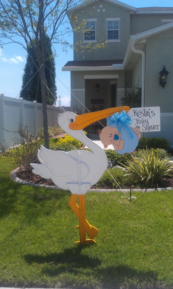 Yard Stork for Baby Shower or Birth Announcement by NanasWoodshop, $60.00