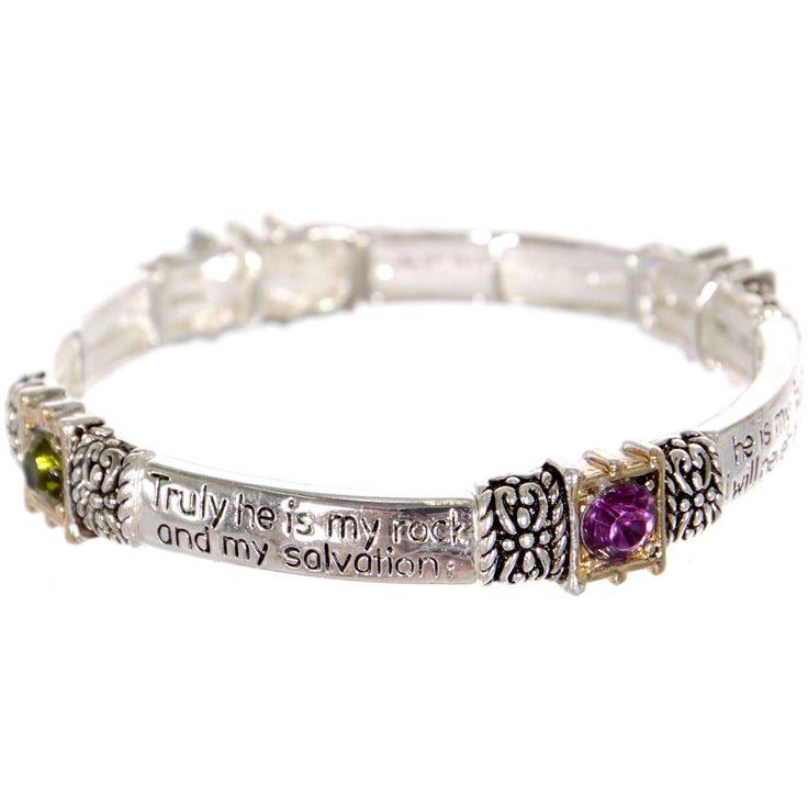 Message Stretch Bracelet with faux gemstones -Psalm 62:1-2