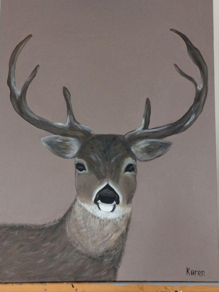 Hert geschilderd met acrylverf. Leuk voor de kerst. Winter kerst hert sfeer rendier