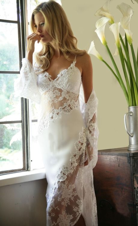 bridal peignoir | TumblrWedding Dressses, Sexy, Bridal Nightgowns, Wedding Night, Bridal Lingerie, Wedding Lingerie, White Lace, Bridal Casablanca, Honeymoons Lingerie