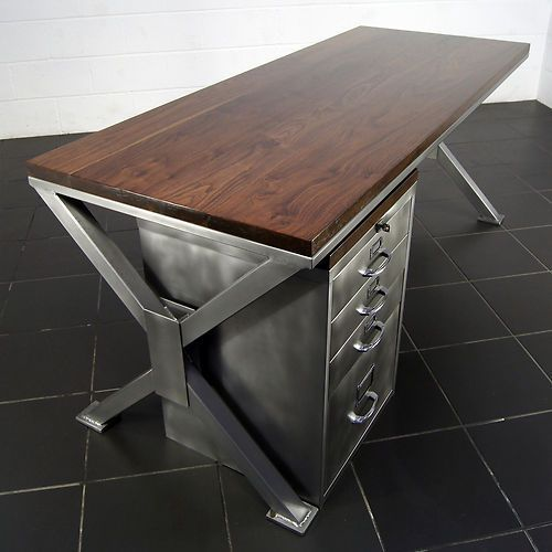 industrial style office desk modern industrial desk. A Thing Of Beauty: Handmade Industrial Polished Metal \u0026 Walnut Office Desk Retro By Steel Vintage Style Modern U
