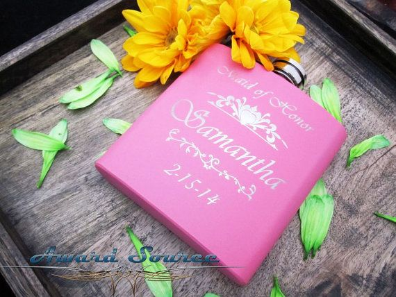 1 Personalized Maid of Honor Gifts Pink Flask by AwardSourceLLC