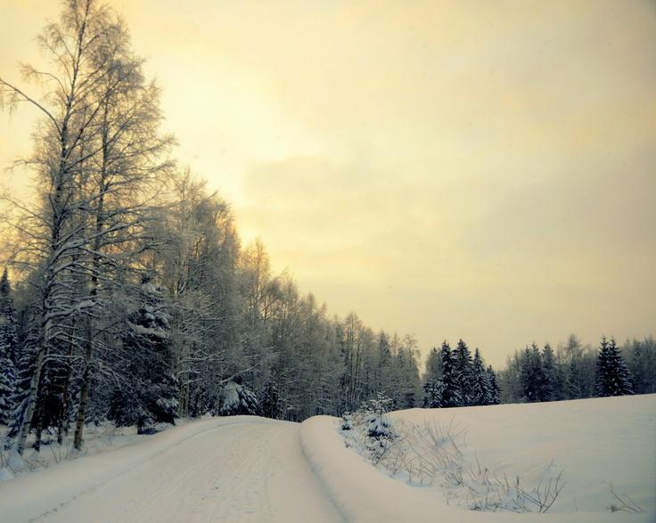 Solnedgång tidig eftermiddag i Österbillsjö.