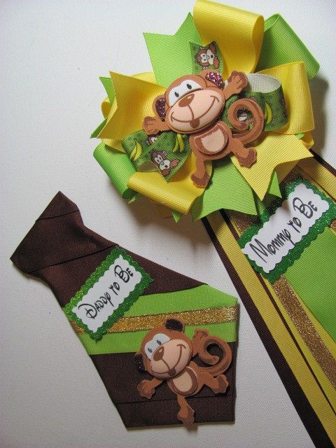 Monkey Baby Shower Corsage / Safari Baby by NewHeavenBoutique