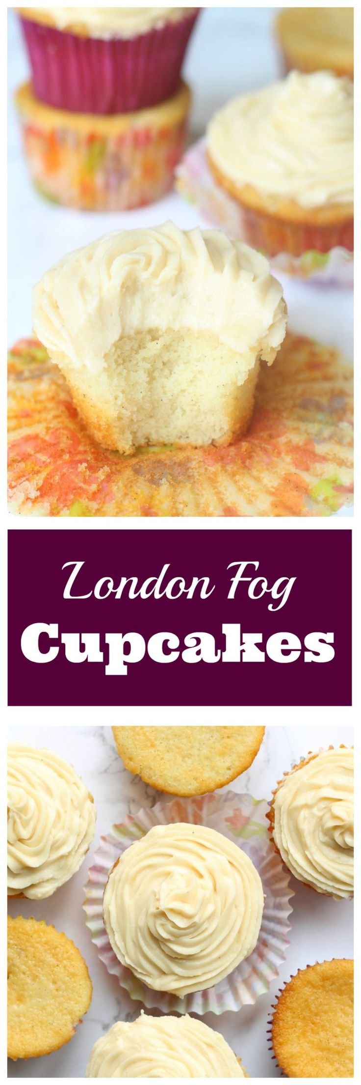 London Fog Cupcakes - Vanilla Bean Cake with Earl Grey Buttercream Frosting