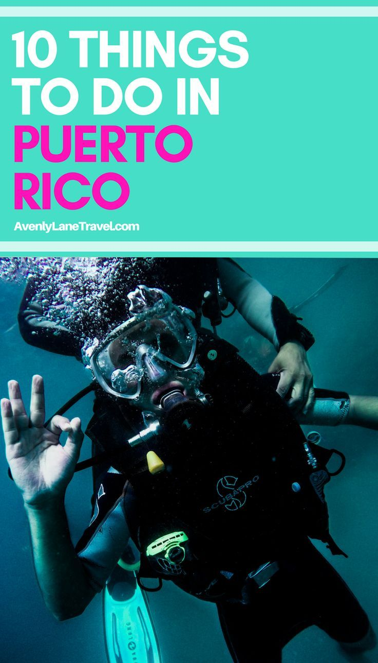 Top 10 things to do in Puerto Rico! Puerto Rico is one of the easiest places to get to from the United States and there is so much to see once there. From visiting the city of San Juan to the beautiful beaches, resorts, snorkeling and scuba diving. There is truly something for everybody on this tropical island! Read the full post on Avenlylanetravel.com