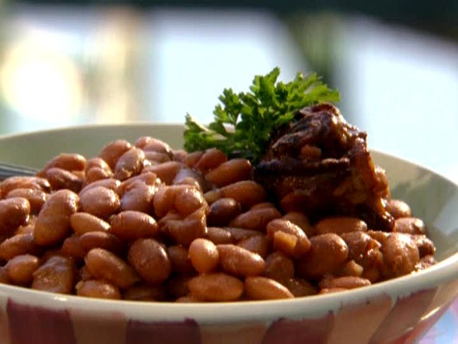 Slow Cooker Pinto Beans from Paula Deen.  I made these today - super easy and taste great. I skipped the ham hock and used 3 slices of thick cut bacon.