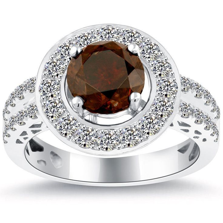 2.97 Ct Natural Fancy Brownish Orange Diamond Engagement Ring 14k Gold Pave Halo #LioriDiamonds #DiamondEngagementRing