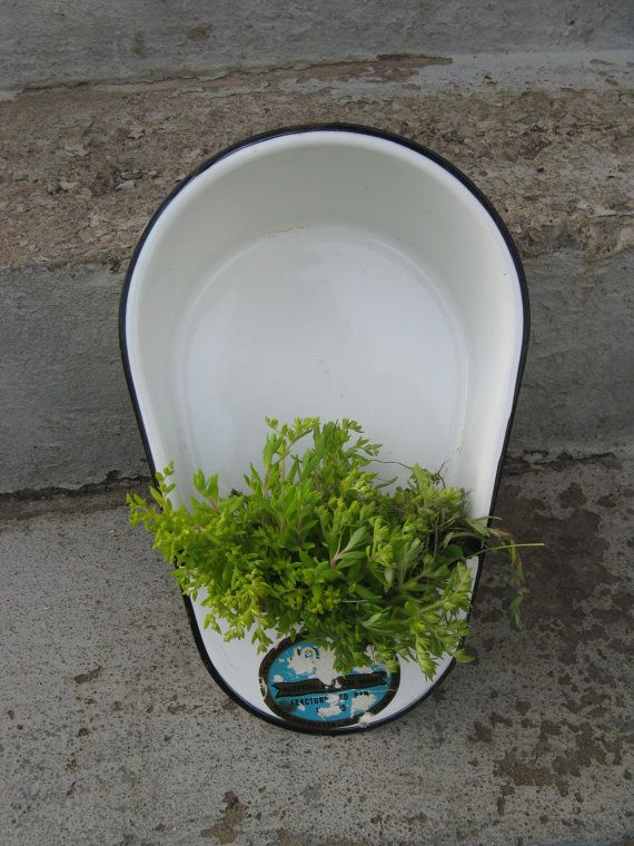 vintage slipper pan porcelain urinal fractured by rivertownvintage