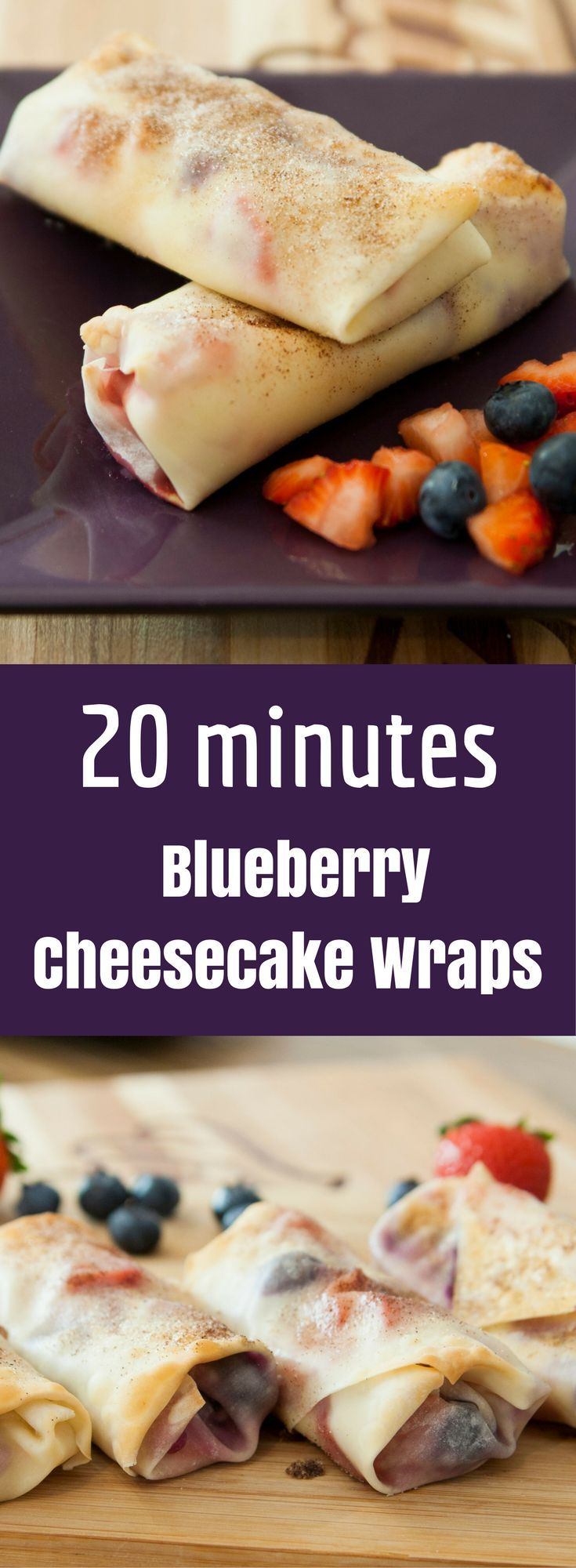 This Blueberry Cheesecake Wraps recipe uses only a few ingredients and takes about 20 minutes to make! Vegetarian recipe that's easy to make!