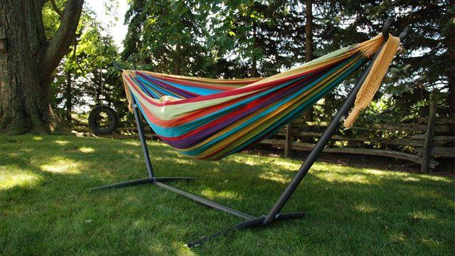 Double outdoor eno hammock stand designs