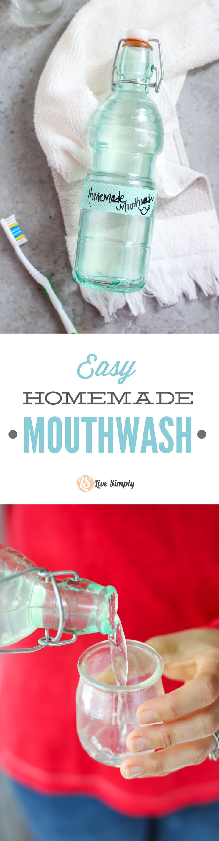 Sooo easy!! This homemade mouthwash is only made with five ingredients: water, aloe, baking soda, and peppermint and tea tree oil. No turning back to store-bought ever again! http://livesimply.me/2015/10/01/easy-homemade-mouthwash/