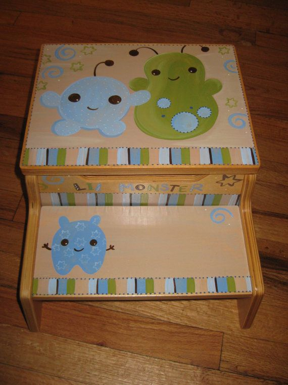 personalized storage step stool little lil monsters on Etsy, $60.00