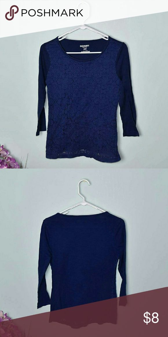Super Cute Navy Crochet Long Sleeve Top Size M. In excellent condition. Tops Tees - Long Sleeve