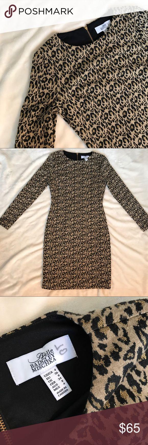 Bagdley Mishka animal print dress Animal print long sleeve dress with gold zipper detailing in back. Badgley Mischka Dresses Long Sleeve
