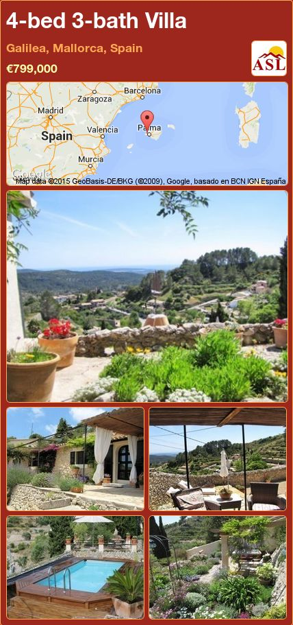 4-bed 3-bath Villa in Galilea, Mallorca, Spain ►€799,000 #PropertyForSaleInSpain