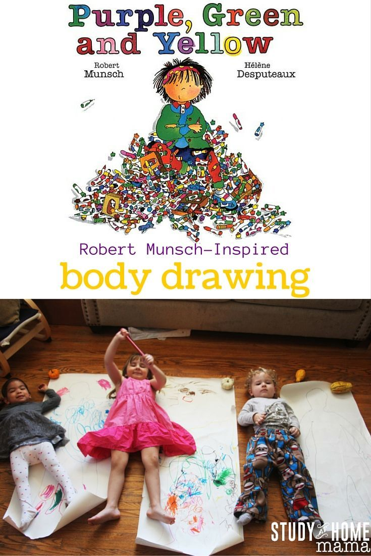 Robert munsch inspired body drawings after reading the classic purple green and yellow