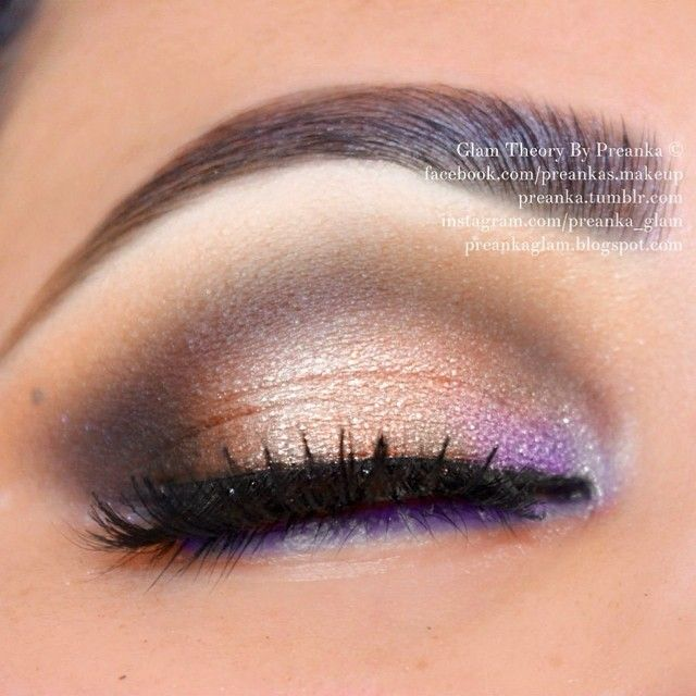 Lightly smoky, partially nude eye, lavender lower lash liner, &  w/ unexpected pop of lavender on inner corner