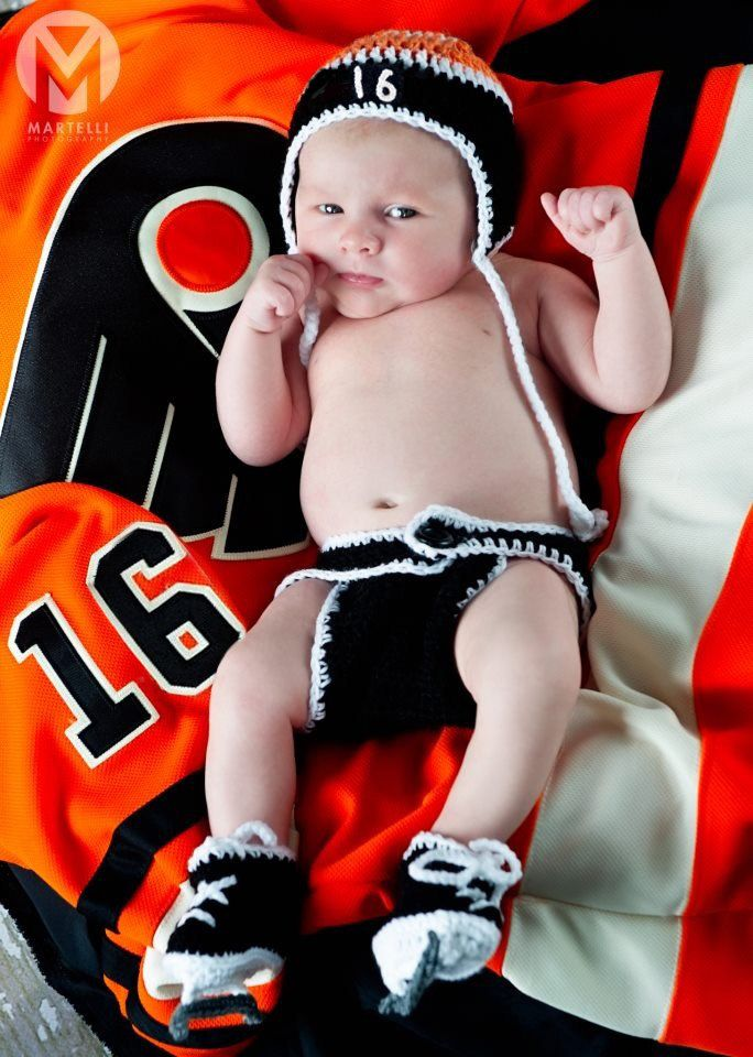BABY HOCKEY BOYS Philadelphia Flyers pacifier not included, Crochet Baby Boy Hockey Outfit, Hockey Baby Knit Hat, Baby Hockey Knit Skates by Grandmabilt on Etsy