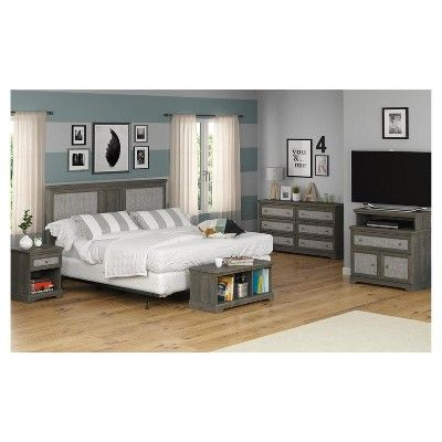 Stone River Media Dresser with Fabric Inserts - Rodeo Oak - Ameriwood Home, Grey
