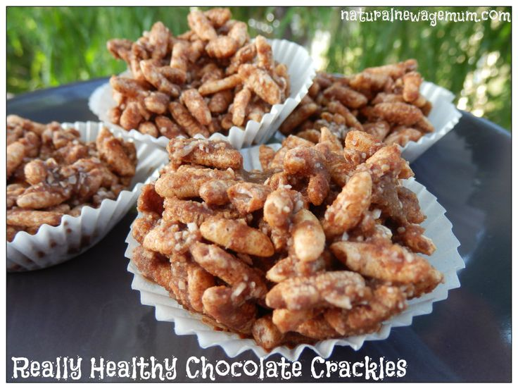 Healthy Chocolate Crackles   Ingredients :  2 cups organic brown rice puffs (find it in the health food aisle)  1/2 cup desiccated coconut (or use your thermomix to chop up shredded coconut)  1/2 cup coconut sugar (or use rapadura sugar or xylitol)  3T raw cacao (not cocoa)  125g virgin coconut oil