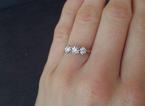 Vintage Diamond Engagement Ring, Triple Diamond Ring, Classic Elegant Engagement Ring