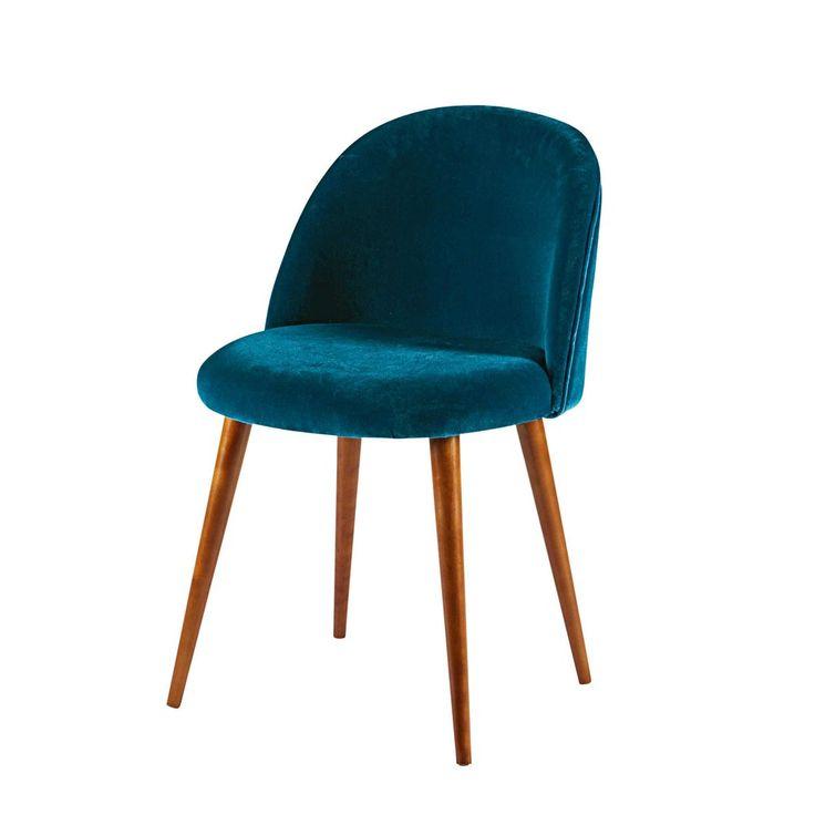 Sedia in velluto blu pavone e legno massello di betulla 90 euro