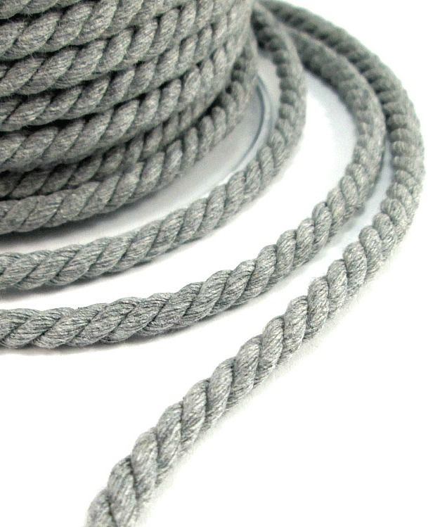 Twisted cotton cord in medium grey color, suitable for jewelry making and various other crafts.   Thickness 6mm /0.2""