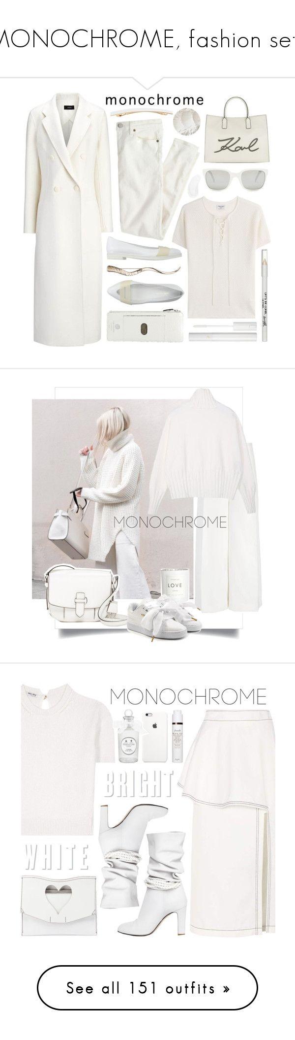 """MONOCHROME, fashion sets"" by deneve ❤ liked on Polyvore featuring Polo Ralph Lauren, Frame, Joseph, J.Crew, megumi ochi, Alexis Bittar, Lodis, Karl Lagerfeld, Temptu and Lancôme"