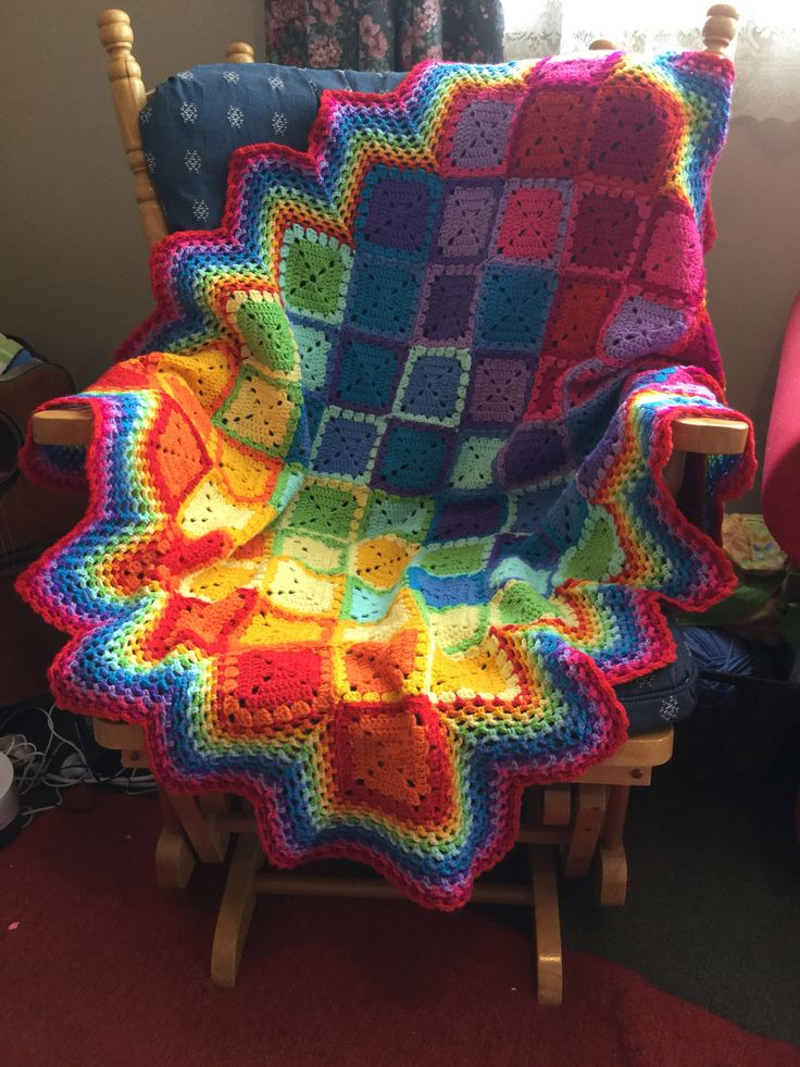 This is my very first crochet project! I enjoyed making it so much! Credit for the pattern goes to FeltedButton, I adore her patterns and I'm already working on my next blanket; queen size for my bed! Thank you so much, FeltedButton. Here is the link to her pattern. Enjoy!  http://www.feltedbutton.com/2014/07/happiness-harlequins-happy-harlequin.html