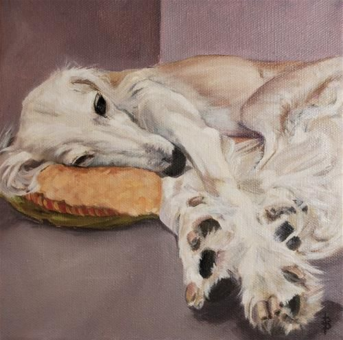"""Daily Paintworks - """"Saluki snoozing"""" - Original Fine Art for Sale - © Beverley Phillips"""