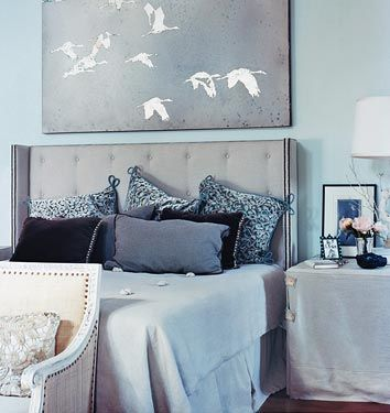 Domino Magazine - Egg Shell Blue Bedroom - I love the painting of the flying geese