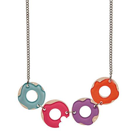 "Erstwilder Limited Edition Sugar Bagel Bunch  Necklace. ""Frosted favourites and sprinkles galore. One is too many and six just isn't enough. Right Dolly?"""