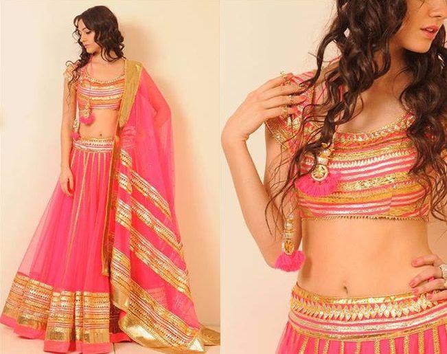 Pink and gold legenga choli. Varun & Nidhika