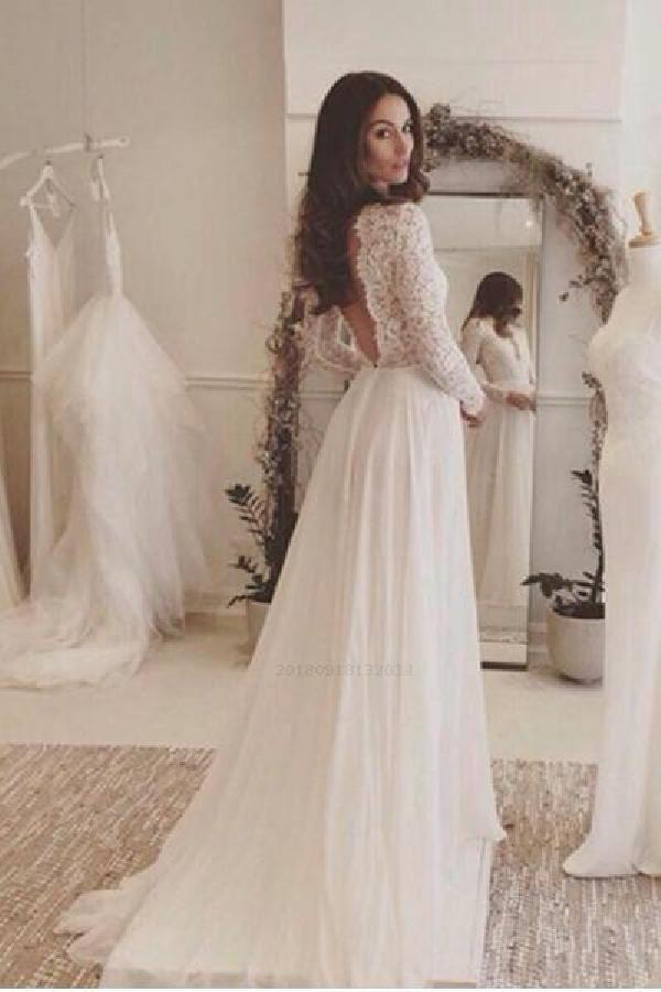 Cheap Wedding Dress, Long Sleeves Wedding Dress, V-Neck Wedding Dress, Lace Wedd…