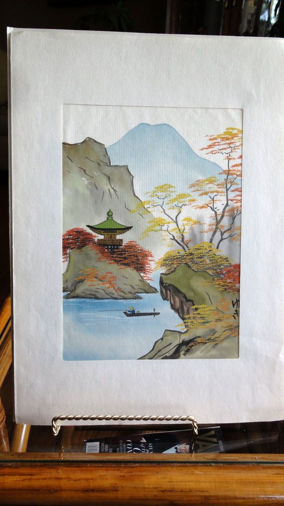 Oreintal Silk Painting Signed Stunning Scenic Silk Painting, Pagoda, Mountains