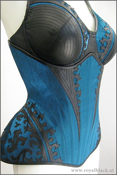 """Royal Black Underbust Corset + Bra """"Blue Blood"""" 